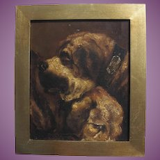 Antique English Oil Painting of Two St Bernard/Mastiff Type Dogs