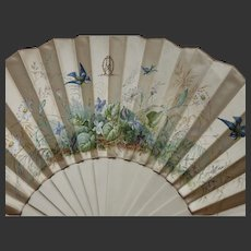 Antique Double-Sided Handpainted Satin Fan with Bone Sticks with Monogram AO