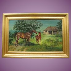 English Antique Oil Painting of a Horse - Mare and Foal - by Wilson Hepple 1854-1937