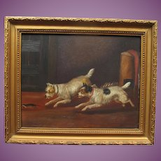 Antique English Oil Painting of Two Terrier Dogs in pursuit of a Rodent