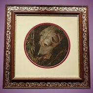 BEAUTIFUL Oil Painting of  Wolfhound/Lurcher DOG in Gorgeous Gold Figured Frame