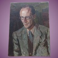 Portrait of a Man [Dominic Cadbury] by British artist Clive Gardiner 1891-1960 Oil Painting Ground Breaking Head of Goldsmiths