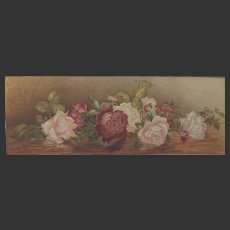 Antique 1902 Watercolour Watercolor Painting of Roses 24 inches long Sig Rosa Shane