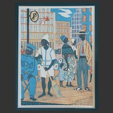 Rupert Shephard 1909 -1992 English Limited Edition Lino Cut 51 of 200 'Big City' South Africa Signed on edition number