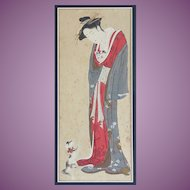 Antique Japanese Wood Block Print of a Lady possibly a Geisha with a Kitten Cat and a small Dog