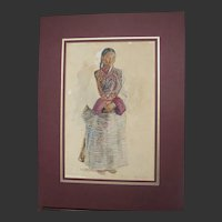 Antique Ethnographic Painting Portrait of a Lady of Bhutan by Walter Duncan 1852-1932 ARWS