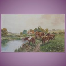 Charming Antique/Vintage c. 1910-1930  Painting of an English Cornwall Cornish Country Scene with Cows Cattle Watercolour Watercolor