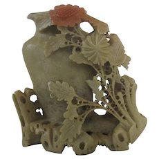 Vintage Chinese Soapstone Vase - carved with Flowers - Flower Holder