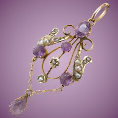 Antique Lavalier Pendant in 9ct Gold set with Amethyst and Natural Seed Pearls