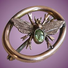 Victorian English Antique 9K Gold & Period Insect Bug Brooch Pin