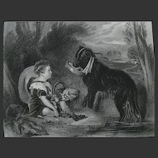 Sir Edwin Landseer Antique Steel Engraved Print of 'Friends' - a Boy, Child & Dog