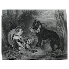 Sir Edwin Landseer Antique Steel Engraved Print of 'Friends' - a Boy, Child & Dog