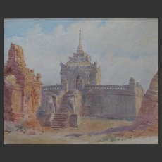 Antique English Watercolour watercolour of a Cambodian Temple Ankorian Angkor