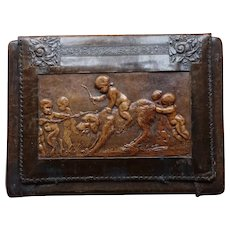 Magnificent ANTIQUE  French Leather Blotter with Bas Relief Dog, Cherubs and Satyrs