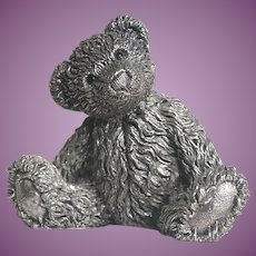 English Sterling Silver Teddy Bear BASIL - 2 3/4 inches Tall Hallmarked 1983 Country Artists in Original Box
