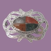 Antique Victorian Agate 'Pebble' Brooch - Pin - set in Silver in the form of a Celtic Knot