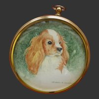Miniature Painting on Paper of a King Charles Spaniel Dog by Isobel R Beard fl. 1930s