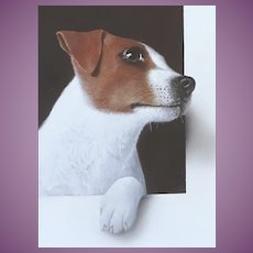 Alan Weston Trompe l'Oeil Painting of a Jack Russell Terrier Dog ... Featured in Dogs In Art by Susie Green pub. Reaktion 2019
