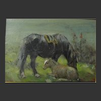 George Smith 1870-1934 RSA Mare and her Foal - Horse Oil Painting English