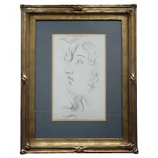 Pre-Raphaelite Drawing  Portrait Study of a Head in Period Frame Pencil Drawing Romantic