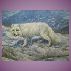 CANADIAN Arctic Fox Painting by Arthur Spencer Roberts (1920-1977) FREE SHIPPING to USA & Canada