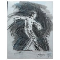 LARGE Framed Pastel/Charcoal Drawing of a Male [Man] Royal Ballet Dancer by Andrew Aloof 1985
