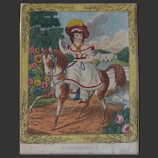 1830 Antique English Engraving My Pretty Pony, Girl Country House Estate, Nursery Hand Coloured