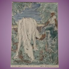 1924  Watercolour Painting of Horse and Man by German Albert Haueisen 1872-1954