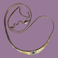 FABULOUS Vintage 18ct 18k GOLD, Diamond and Sapphire Necklace 28 grams