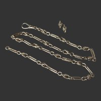 Antique 9k 9ct Gold Albert Watch Chain Necklace 28 grams including matching Earrings  Trombone Victorian