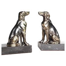 Pair Antique Art Deco Greyhound Dog Canine Bookends in Spelter