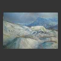 CANADIAN Arctic Fox Painting Unframed by Arthur Spencer Roberts (1920-1977)