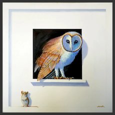 Trompe l'Oeil of Barn Owl & Mouse Oil Painting by   Alan Weston