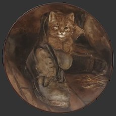 Puss in Boots after Frank Patton RA by Adlard. Cold painted on Porcelain Cat Kitten Painting