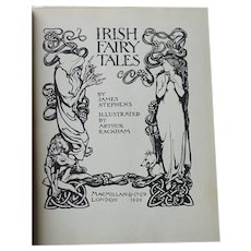 IRISH Fairy Tales Ill Arthur Rackham Antique 1st Edition 1920 James Stephens BEAUTIFUL BINDING