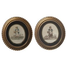 PAIR of Antique Georgian Oval Prints - Strawberry and Flower Sellers with Dogs