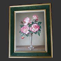 ENGLISH Oil Painting Flowers - ROSES Still Life by James NOBLE 1919-89