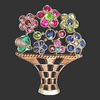 9K Vintage Gold & Jewels Basket of Flowers Pin Brooch