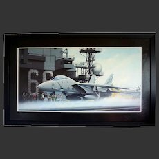 'Launch of a Tomcat F14 Fighter Plane' by Alan Weston Oil on Board 38 by 23 inches Military Airforce