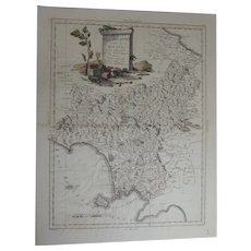 ANTIQUE Italian Map Engraving of Molise Bay of Naples etc. 1783 by Rizzi Zannoni 1736-1814 Antonio Zatta