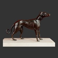 Antique Bronze Sculpture of a Greyhound Dog on a Marble Base 1850-1900