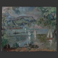MODERN British Clive Gardiner Goldsmiths1891-1960 OIL Painting Lake c.1930-40