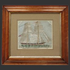 Antique Naive Watercolour Painting of a Clipper Type Ship Anne of Geirstein English