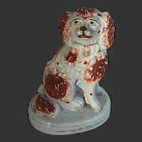 LARGE 8.75 inch ANTIQUE Original Staffordshire Pottery China Spaniel Dog c.1855 on Plinth