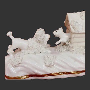 RARE Antique Miniature Staffordshire Pottery of A Poodle Dog confronting a Cat c. 1840