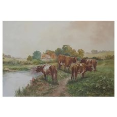 c.1920 English Watercolour Painting of Cornwall with Cattle Cows Grazing by a River - Countryside Farm