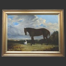 Antique English Georgian Oil Painting of a Horse and Spaniel Dog