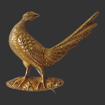 Antique Edwardian English 9ct 9k Gold Brooch Pin of a Pheasant Game Bird