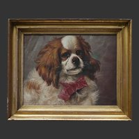 FRENCH Antique Oil Painting of a King Charles Spaniel Dog