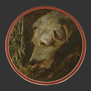 Oil Painting of a Sight Hound /Wolfhound Type Dog in Tondo Mount c. Early - Mid 20th Century